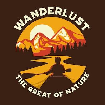Illustration graphique d'aventure wanderlust