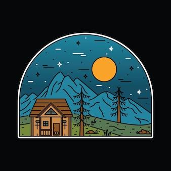 Illustration graphique de broche de patch d'insigne de ligne sauvage aventure camping nature