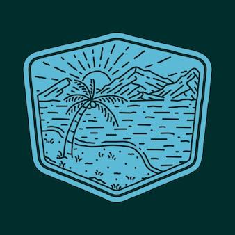 Illustration graphique de broche de patch d'insigne de ligne sauvage de plage mer nature