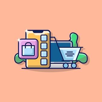 Illustration graphique de commerce électronique avec smartphone, ordinateur portable et icône de panier.