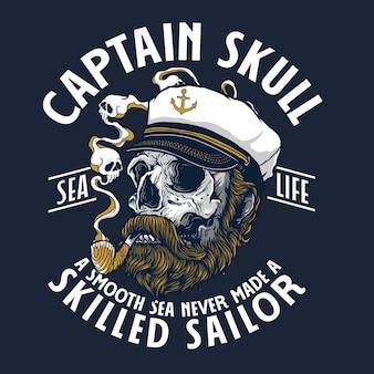 Illustration Graphique De Crâne De Capitaine Vecteur Premium