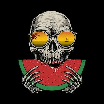 Illustration graphique de crâne pastèque plage d'été