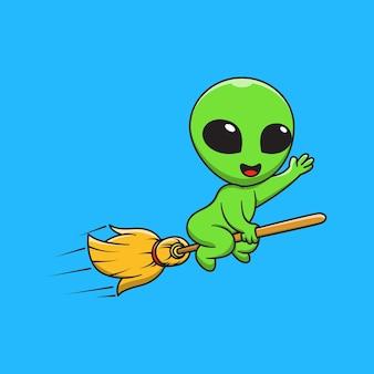 Illustration graphique de dessin animé extraterrestre chevauchant un manche à balai