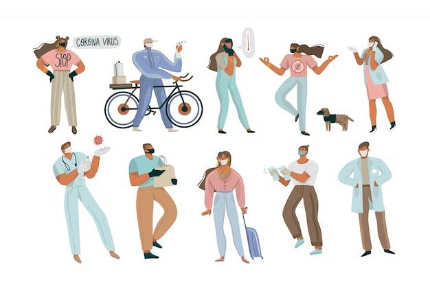 Illustration graphique dessinée à la main avec le groupe de personnes concept covid-19 sertie de masques faciaux, livraison à domicile, médecins et infirmières isolés