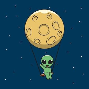 Illustration graphique des extraterrestres de dessin animé saluant sur une balançoire avec la lune.