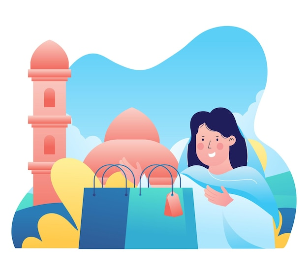 Illustration graphique d'une femme musulmane a fait du shopping