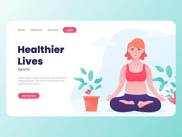 Illustration graphique d'une fille se détendre avec une thérapie de yoga