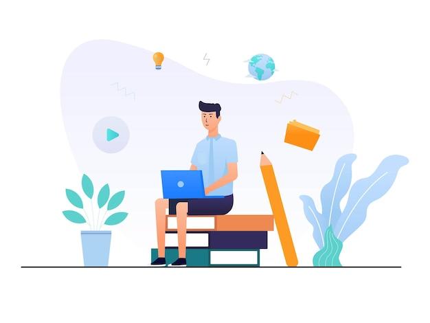 Illustration graphique d'un garçon faire l'étude des devoirs