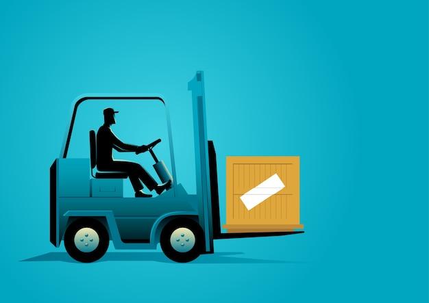Illustration graphique d'un homme au volant d'un chariot élévateur