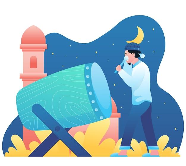 Illustration graphique d'un homme musulman frappant le tambour pour célébrer le mois du ramadan dans la nuit.