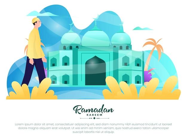 Illustration graphique d'un homme musulman se rend à la mosquée pour adorer pendant le mois de ramadan