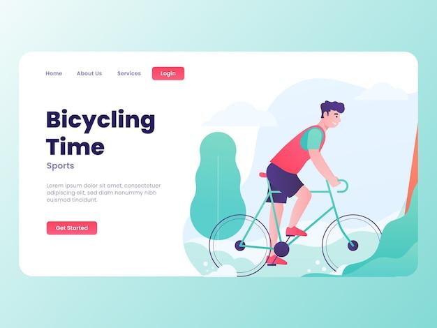 Illustration graphique d'un homme avec un vélo heureux