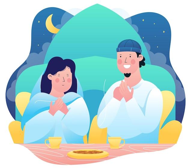 Illustration graphique d'un jeune couple marié prient pour se préparer à rompre leur jeûne à l'heure de l'iftar