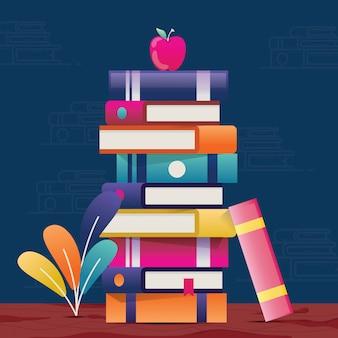 Illustration graphique de livres de pile