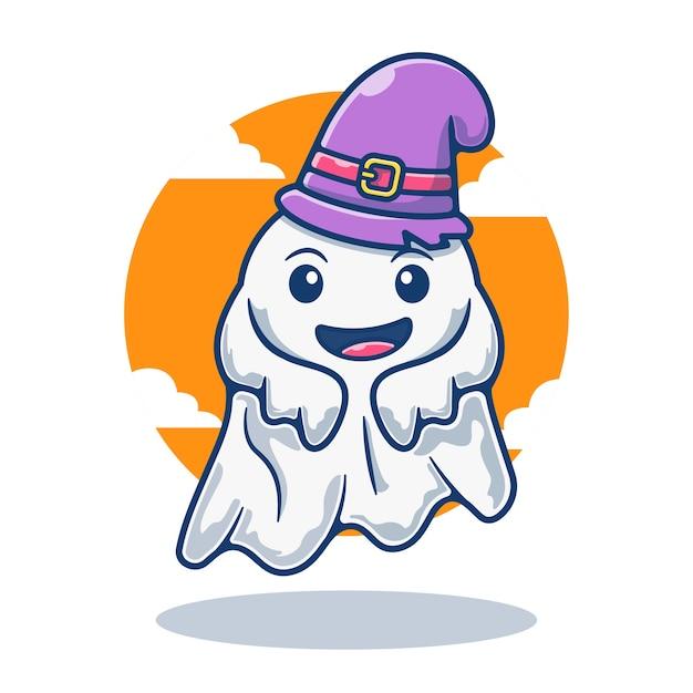 Illustration graphique de mascotte fantôme mignon avec chapeau de magicien