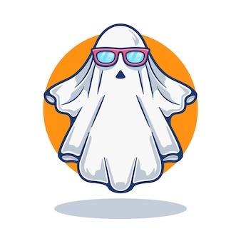 Illustration graphique de mascotte fantôme mignon avec des lunettes