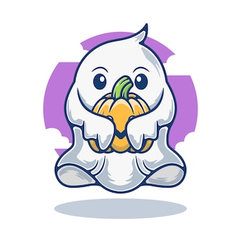 Illustration graphique de mascotte fantôme mignon tenant citrouille