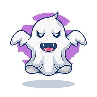 Illustration graphique de mascotte fantôme mignon