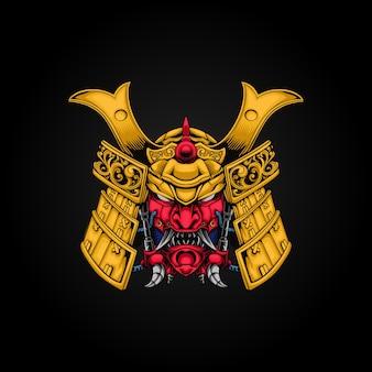Illustration graphique de mecha samurai
