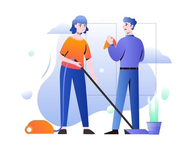 Illustration graphique d'une mère et d'un père travaillent ensemble pour nettoyer la maison