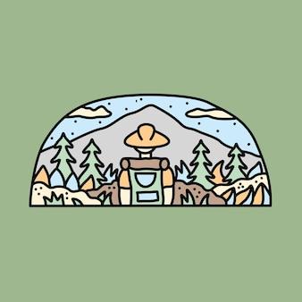 Illustration graphique de nature aventure randonneur