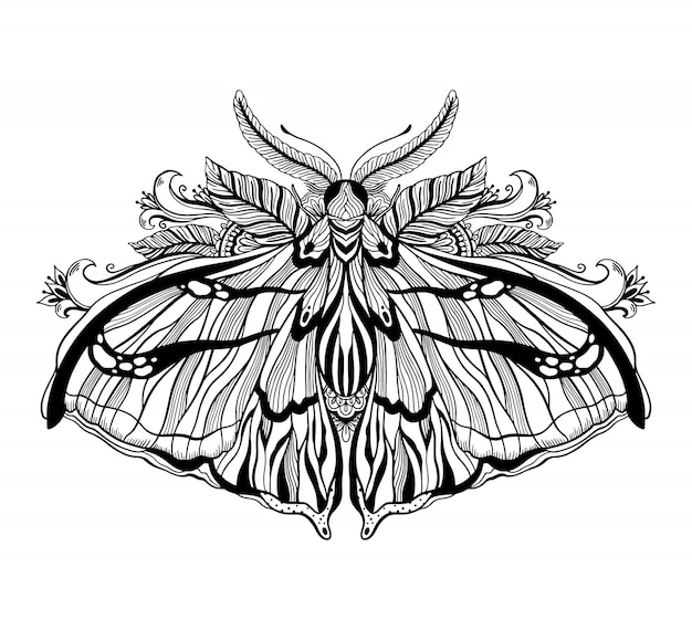 Illustration graphique avec papillon mystique et symboles occultes dessinés à la main. concept de franc-maçonnerie astrologique et ésotérique. ancien style vintage.