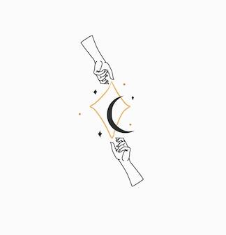 Illustration graphique plat stock abstrait vecteur dessiné à la main avec logo de marque mage céleste bohème...
