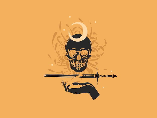 Illustration graphique plate dessinée à la main avec éléments de logo, crâne, épée et fleurs, art de la ligne magique de la lune dans un style simple