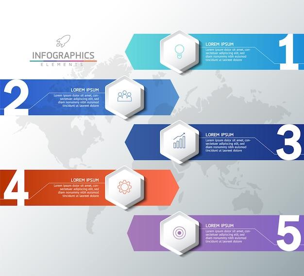 Illustration graphique de présentation des informations commerciales modèle de conception infographique avec 5 étapes