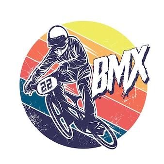 Illustration graphique rétro bmx