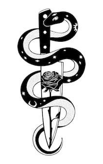 Illustration graphique de rose de couteau de serpent