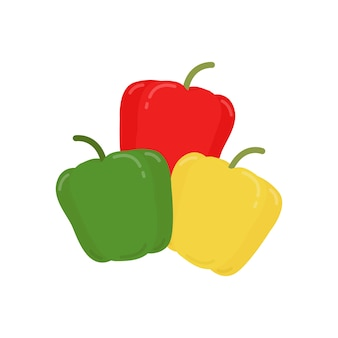 Illustration graphique rouge poivrons verts et jaunes