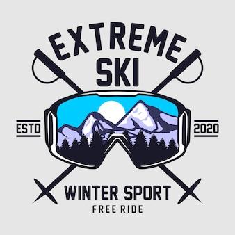 Illustration graphique de ski extrême