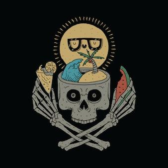 Illustration graphique de skull love summer