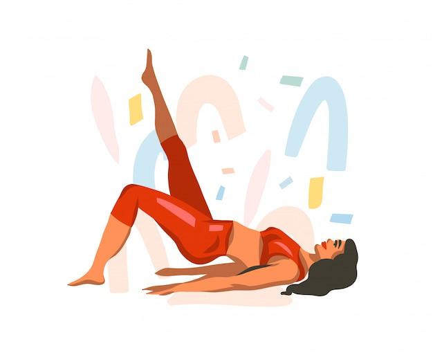 Illustration graphique stock abstraite dessinée à la main avec une jeune femme heureuse, faisant de la remise en forme sur une vidéo mat sur fond de forme de collage blanc