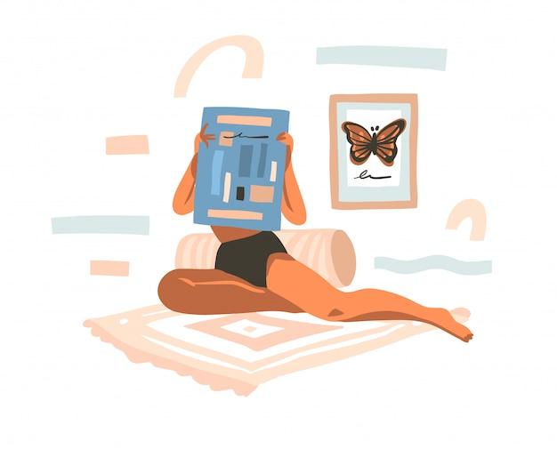 Illustration graphique stock abstraite dessinée à la main avec une jeune femme lisant le journal à la maison et des formes de collage abstraites sur fond blanc