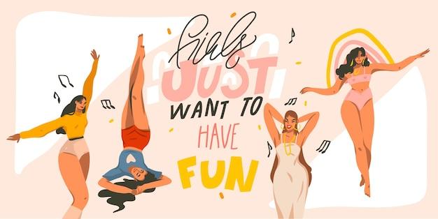 Illustration graphique stock abstraite dessinée à la main avec de jeunes femmes souriantes dansant