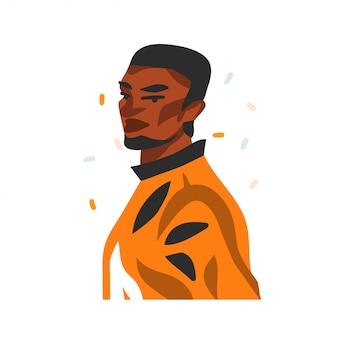 Illustration graphique stock abstraite dessinée à la main avec le portrait d'homme jeune beauté noire heureuse, en tenue de mode sur fond blanc