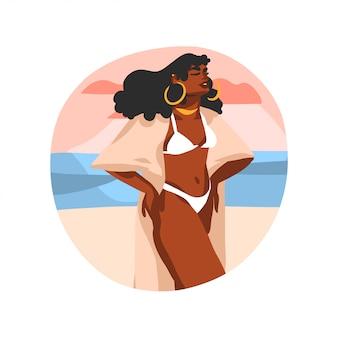 Illustration graphique de stock abstraite dessinés à la main avec une jeune femme de beauté noire heureuse, en maillot de bain sur la scène de vue au coucher du soleil sur fond blanc