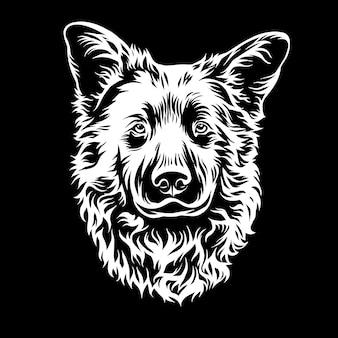 Illustration graphique de tête de chien