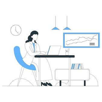 Illustration graphique de travail ligne plate