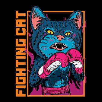 Illustration graphique de vecteur de dessin animé de boxeur de chat avec le style de boxe de rue rétro vintage