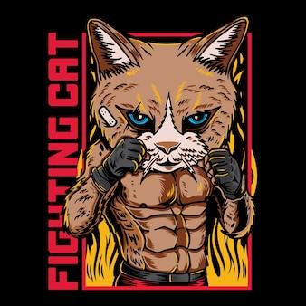 Illustration graphique de vecteur de dessin animé de combattant de chat avec le style d'art martial de rue rétro vintage
