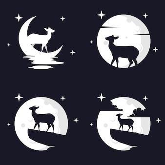 Illustration graphique vectorielle de cerf avec fond de lune. parfait à utiliser pour un t-shirt ou un événement