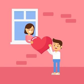 Illustration graphique vectorielle du couple. donner des fleurs pour la saint valentin, anniversaire
