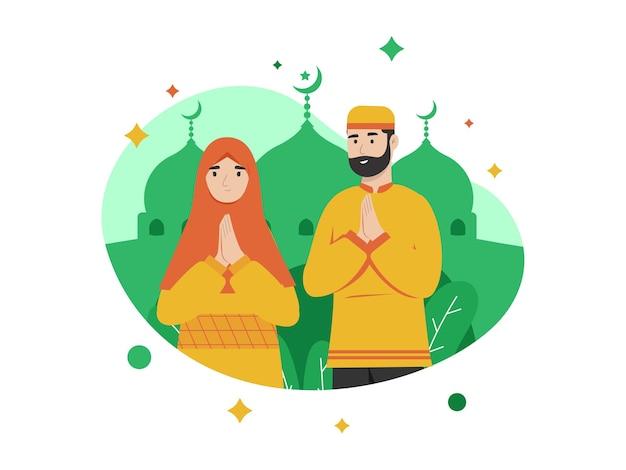Illustration graphique de voeux ramadan du mari et de la femme au mois de début du ramadan
