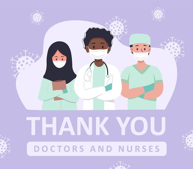 Illustration de gratitude envers les médecins et les infirmières