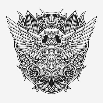 Illustration gravée aigle dessiné à la main noir et blanc