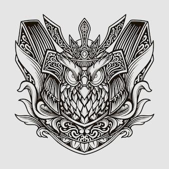 Illustration gravée de hibou samouraï dessiné à la main noir et blanc
