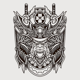 Illustration gravée de singe samouraï dessiné main noir et blanc